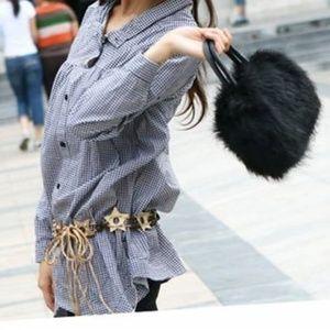 Handbags - Black Fur Satchel Bag